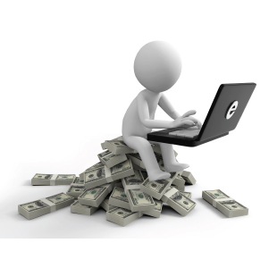 White cartoon character sitting on a pile of cash working on laptop computer