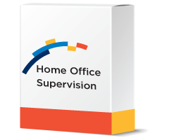 financial software systems software box mockup with Home Office Supervision software
