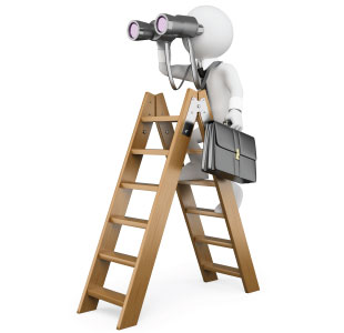Cartoon character standing on a ladder with binoculars and a briefcase